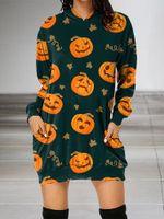 Pumpkin Pattern Halloween Hoodie Dress