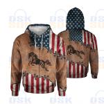 Horse American 3D Hoodie