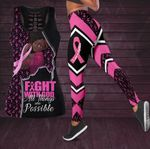 Breast Cancer Tank Top And Leggings Fight With God All Things