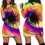 Sunflower Rainbow Hoodie Dress
