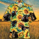 Black Angus Cow Sunflower Hawaii Shirts