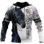 Black Horse In The Snow 3D Hoodie Love Horse