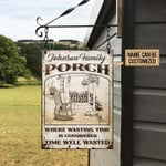 Personalized Porch Family Metal Sign Where Wasting Time Is Considered Time Well Wasted