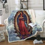 Virgin Mary In Heaven Sherpa Blanket