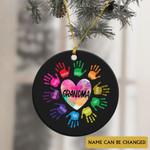 Personalized Name Grandma And Grandkids Colorful Heart Ornament