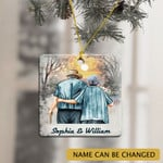 Personalized Name Old Couple Gift Ornament