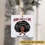 Personalized Africa American Black Girl Ornament God Say I Am