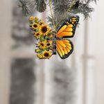Faith Sunflower Cross Butterfly Ornament
