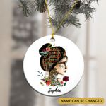 Personalized Tattoed Book Reading Girl Ornament
