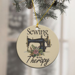 Sewing Is My Therapy Ornament