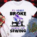 Sewing Halloween Tshirt My Broom Broke