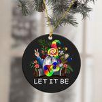 Hippie Tie Dye Gnome Ornament Let It Be