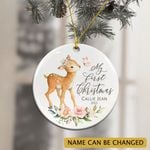 Personalized Baby's First Christmas Girl 2021 Ornament