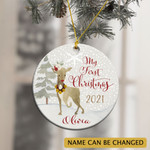 Personalized Baby's Girl Deer First Christmas 2021 Ornament
