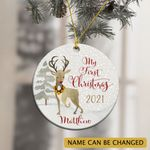 Personalized Baby's Boy Deer First Christmas 2021 Ornament