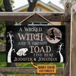 Personalized Witch Halloween Wooden Door Sign A Wicked Witch And A Grumpy Toad Live Here