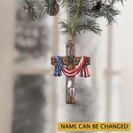 Personalized Cross Jesus Veteran Christmas Ornament