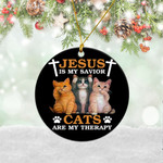 Jesus Is My Savior Cats Are My Therapy Ornament