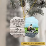 Personalized Motorcyle Riding Old Couple At 80 Ornamnet
