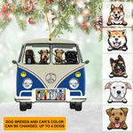 Personalized Dog Lover Camping Hippie Van Ornament