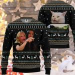 Woman Yelling At Cat Christmas Wool Sweater