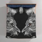 A Roaring Lions Black And White Painting - Abstract Bedding Set Duvet Cover