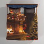 A Warm Fireplace At Christmas - Abstract Bedding Set Duvet Cover