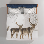 A Male Of Fallow Deer With Grate Antlers Standing On The Snow - Animals Bedding Set Duvet Cover