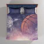 Abstract Basketball And Planets Starry Sky Night View - Bedding Set Duvet Cover