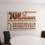 1970Sstyle Alphabet Rainbow Stripe Embellishments - Psychedelic Canvas Art Wall Decor