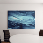 Abstract Paint Water Blue Sea Waves Canvas Art Wall Decor