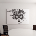Abstract Woman Mask Flowers Black White Canvas Art Wall Decor