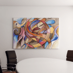Abstract Artwork Different Shapes Lines Canvas Art Wall Decor