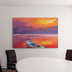 Oil Painting Boat On Sea Art Canvas Art Wall Decor