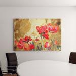 Original Watercolor Poppy Flower Gold Background Canvas Art Wall Decor