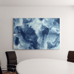 Paint Blue Water Abstract Waves Watercolor Canvas Art Wall Decor
