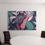 Painted Tropical Exotic Leaves Abstract Colors Canvas Art Wall Decor