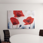 Blossoming Poppy Buds Drawn By Oil Canvas Art Wall Decor