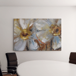 Daffodils Pale Yellow Delicate Flowers Oil Canvas Art Wall Decor