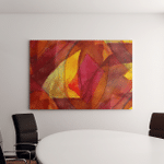 Seamless Cubism Red Yellow Abstract Art Canvas Art Wall Decor