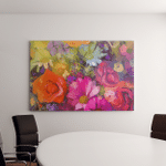 Still Life Yellow Red Color Flowers Canvas Art Wall Decor
