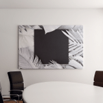 Tropical Palm Leaves White Color Black Canvas Art Wall Decor