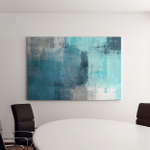 Turquoise Grey Abstract Art Painting Canvas Art Wall Decor