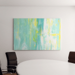 Turquoise Yellow Abstract Art Painting Canvas Art Wall Decor