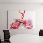 Flamingo Couple Pink Bird Dancing Watercolor Canvas Art Wall Decor