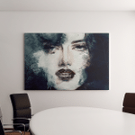 Woman Face Hand Painted Fashion Illustration Canvas Art Wall Decor