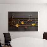 Musical Notes Conception Wooden Leaves Canvas Art Wall Decor