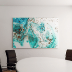 Tiffany Blue Colors Abstract Ocean Art Canvas Art Wall Decor