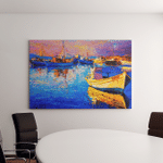 Original Oil Painting Beautiful Boat Modern Canvas Art Wall Decor