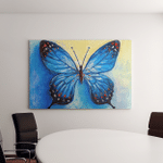 Oil Painting Blue Butterfly Canvas Art Wall Decor